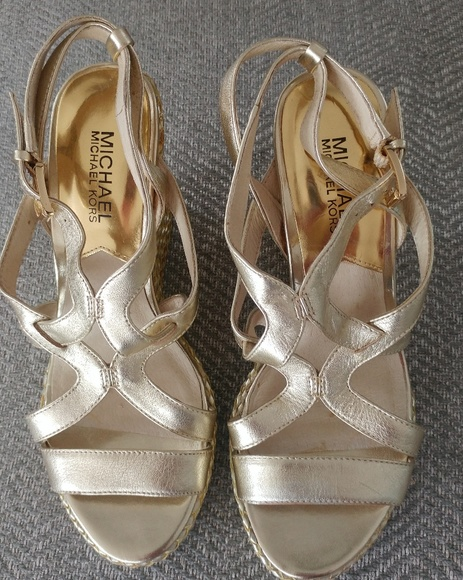 Michael Kors Shoes - Michael Kors Gold Wedge Sandals